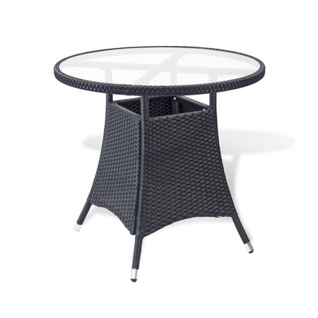 SK New Interiors Resin Outdoor Wicker Round Patio Dining Table w/ Glass Top Deck Backyard, Black ()