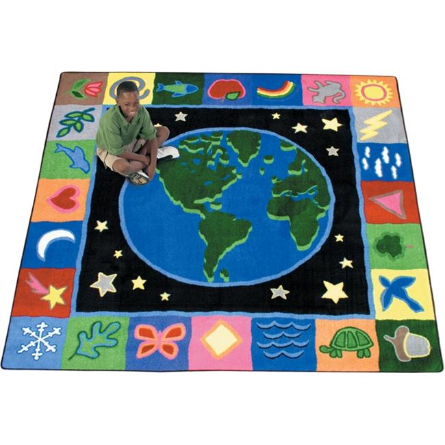 Joy Carpets 1405E EarthWorks 7 ft. 7 inch Round 100 Pct.  STAINMASTER Nylon Machine Tufted- Cut Pile Educational Rug