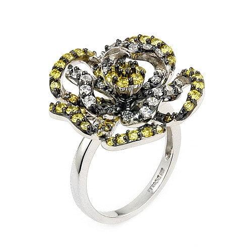 Plutus Partners Ferroni Sterling Silver Swarovski Elements Zirconia Flower Ring