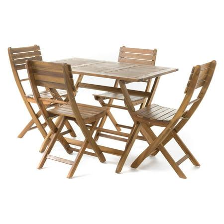 Pablo Acacia Wood Foldable Patio Dining Set