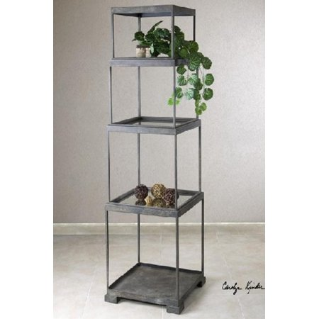 71 distressed bronze metal stacked cubes decorative etagere display shelf. Black Bedroom Furniture Sets. Home Design Ideas