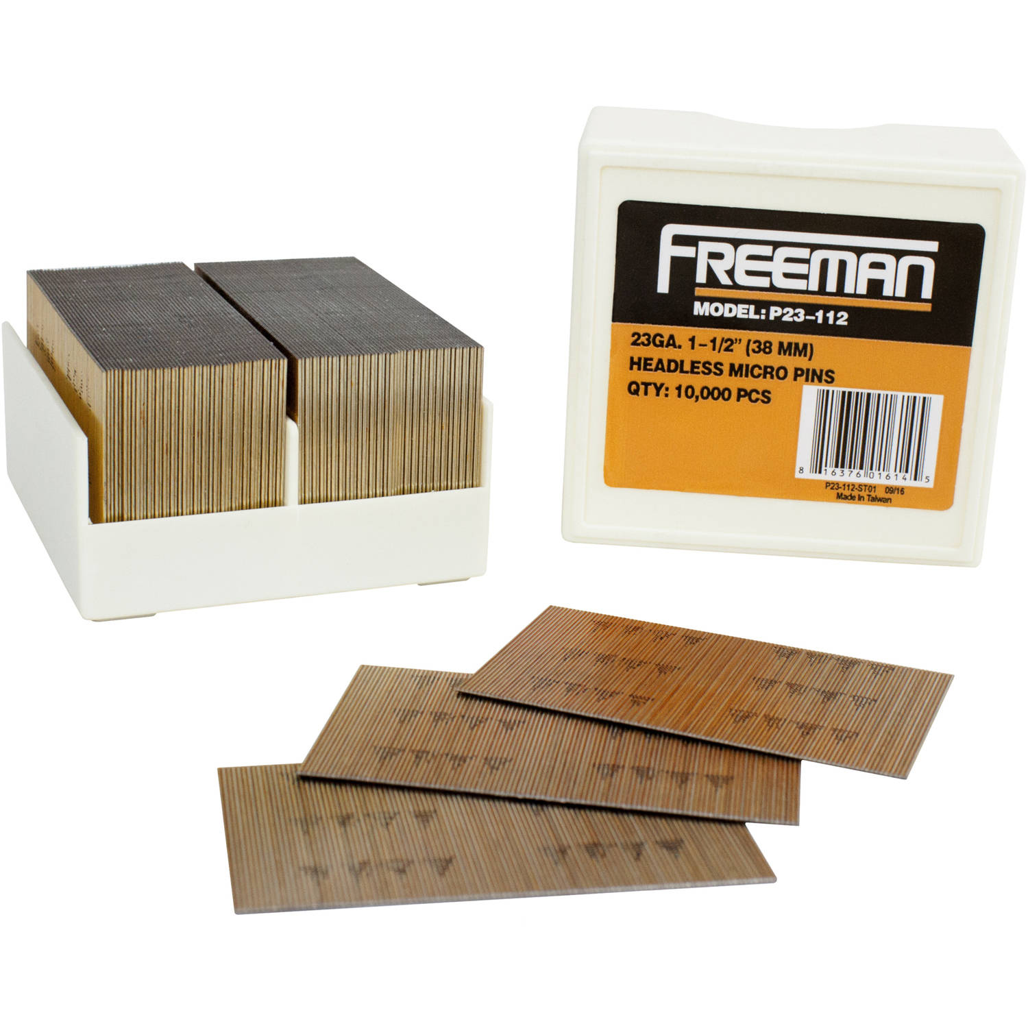 Freeman P23-112 23 GA 1 1/2-Inch Glue Collated Pin Nails, 10,000 Count