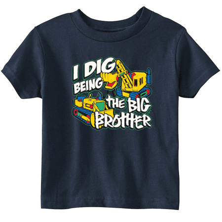 Lil Shirts Little Boys I Dig being The Big Brother Youth and Toddler Tee Shirt (Blue, 2T)
