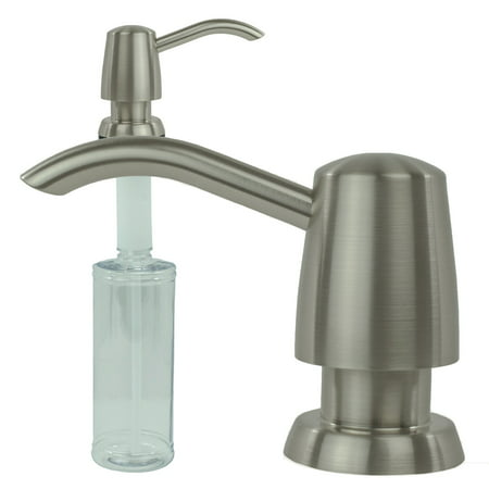 - Kitchen Sink Liquid Soap Dispenser Lotion Pump Modern Curved Arc Nozzle, Stainless