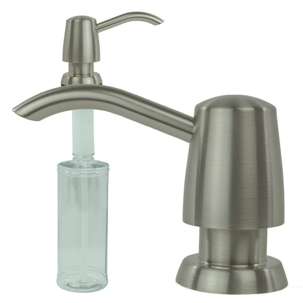 Kitchen Sink Liquid Built-in Soap Dispenser Lotion Pump Modern Curved Arc Nozzle, Stainless