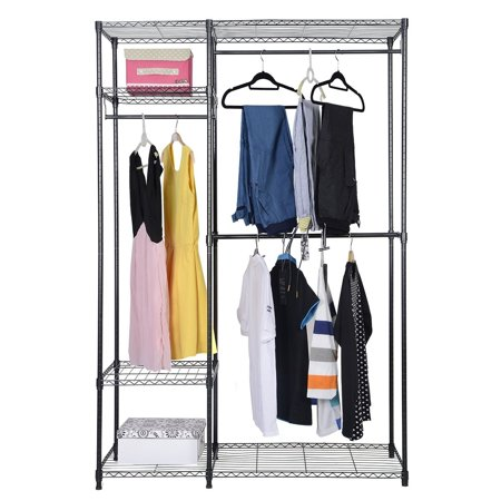 48 x18 x71 portable clothes closet hanger organizer storage rack heavy duty new. Black Bedroom Furniture Sets. Home Design Ideas