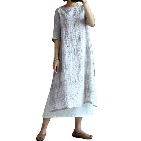 Sleeve Bubble Hem Dress - Womens Split Hem Short Sleeve Cotton Linen Plaid Comfy Dresses
