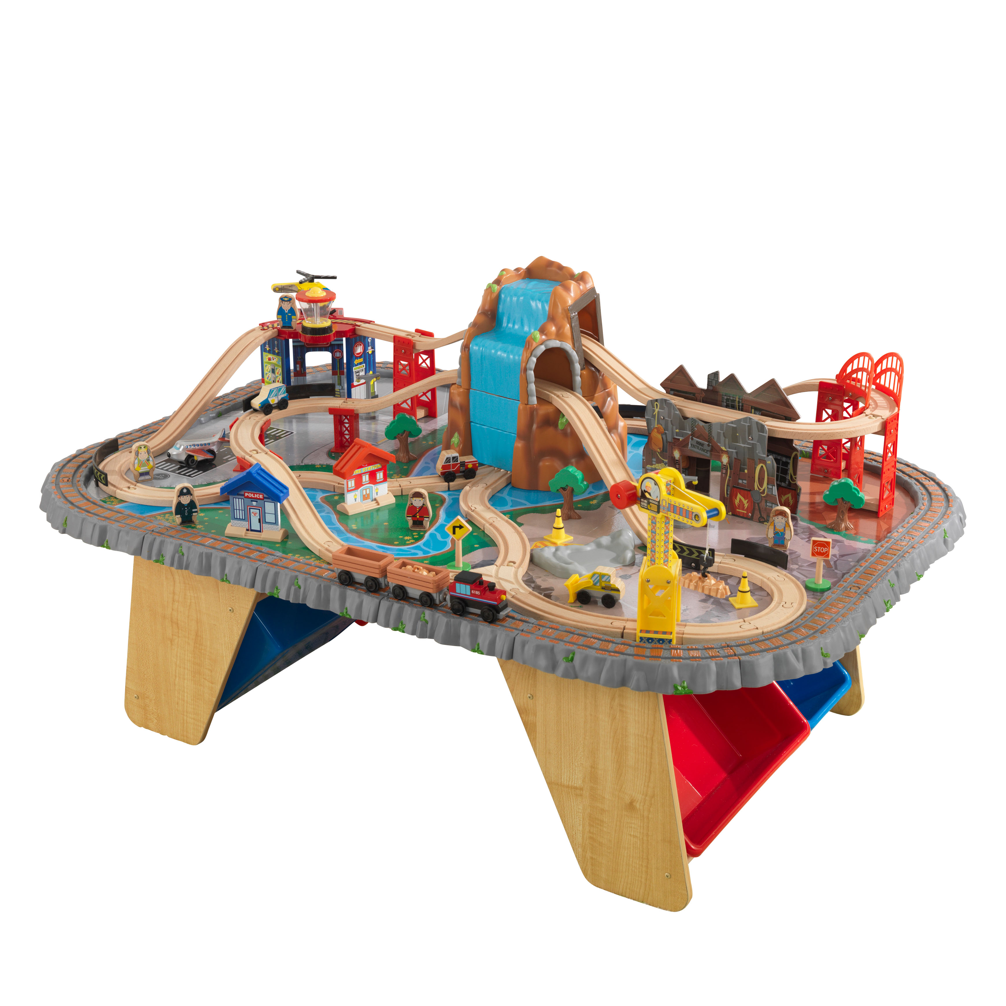 KidKraft Waterfall Junction Train Set U0026 Table With 112 Accessories Included