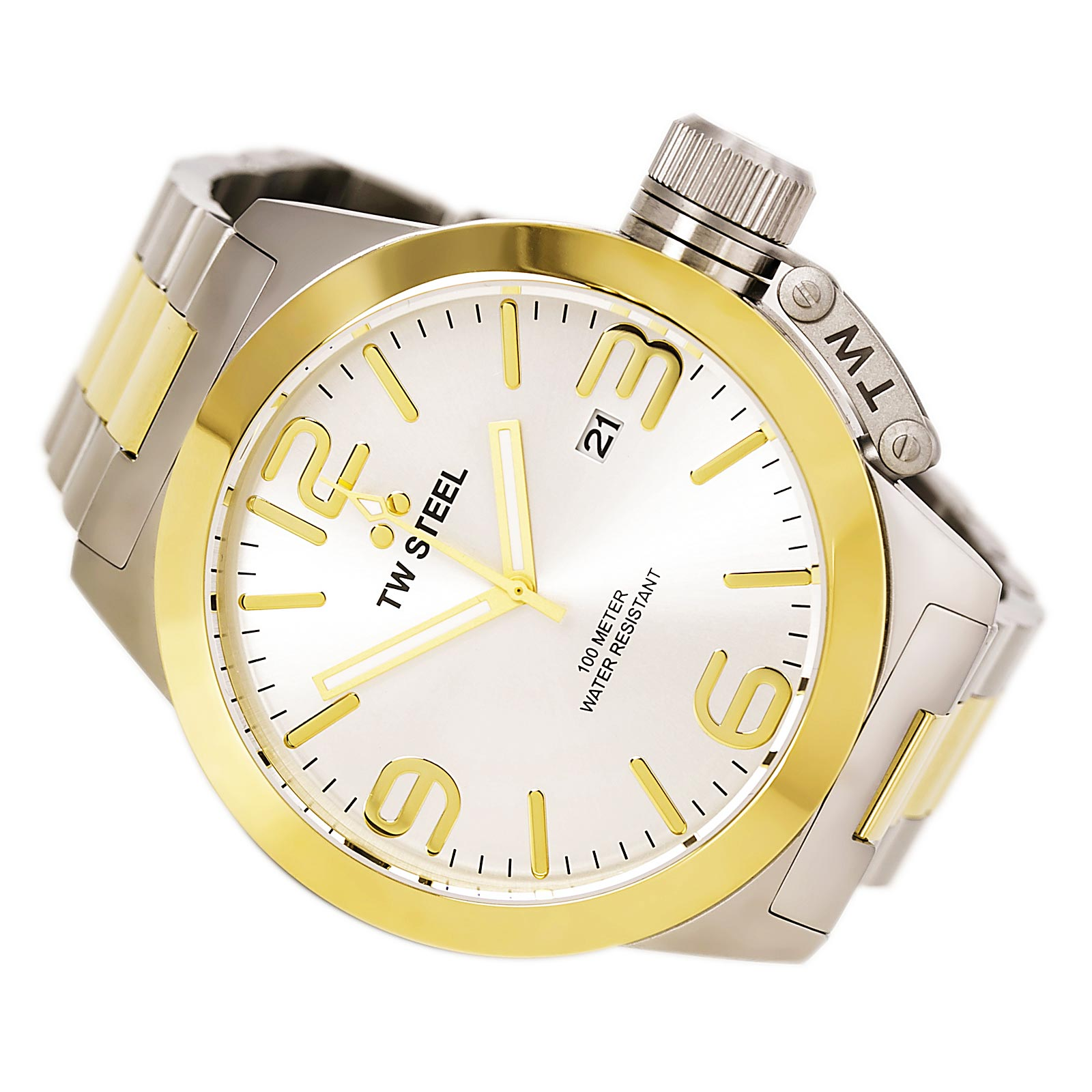 TW Steel CB32 Men's Canteen Bracelet Silver Dial Two Tone Stainless Steel Watch