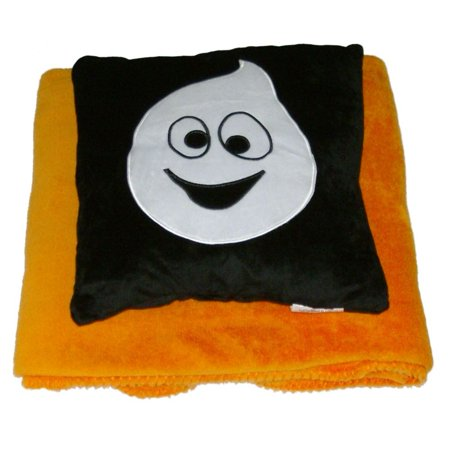 halloween scary ghost accent pillow super soft orange throw blanket set