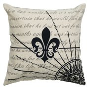 "Rizzy Home Decorative Poly Filled Throw Pillow Fleur De Lis 20""X20"" Black"