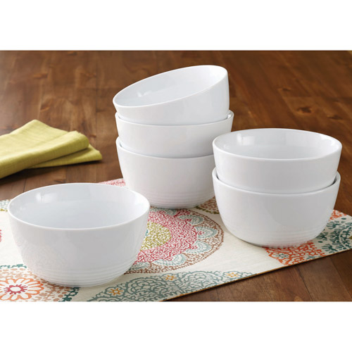 Better Homes and Gardens Round Ribbed Bowls, White, Set of 6