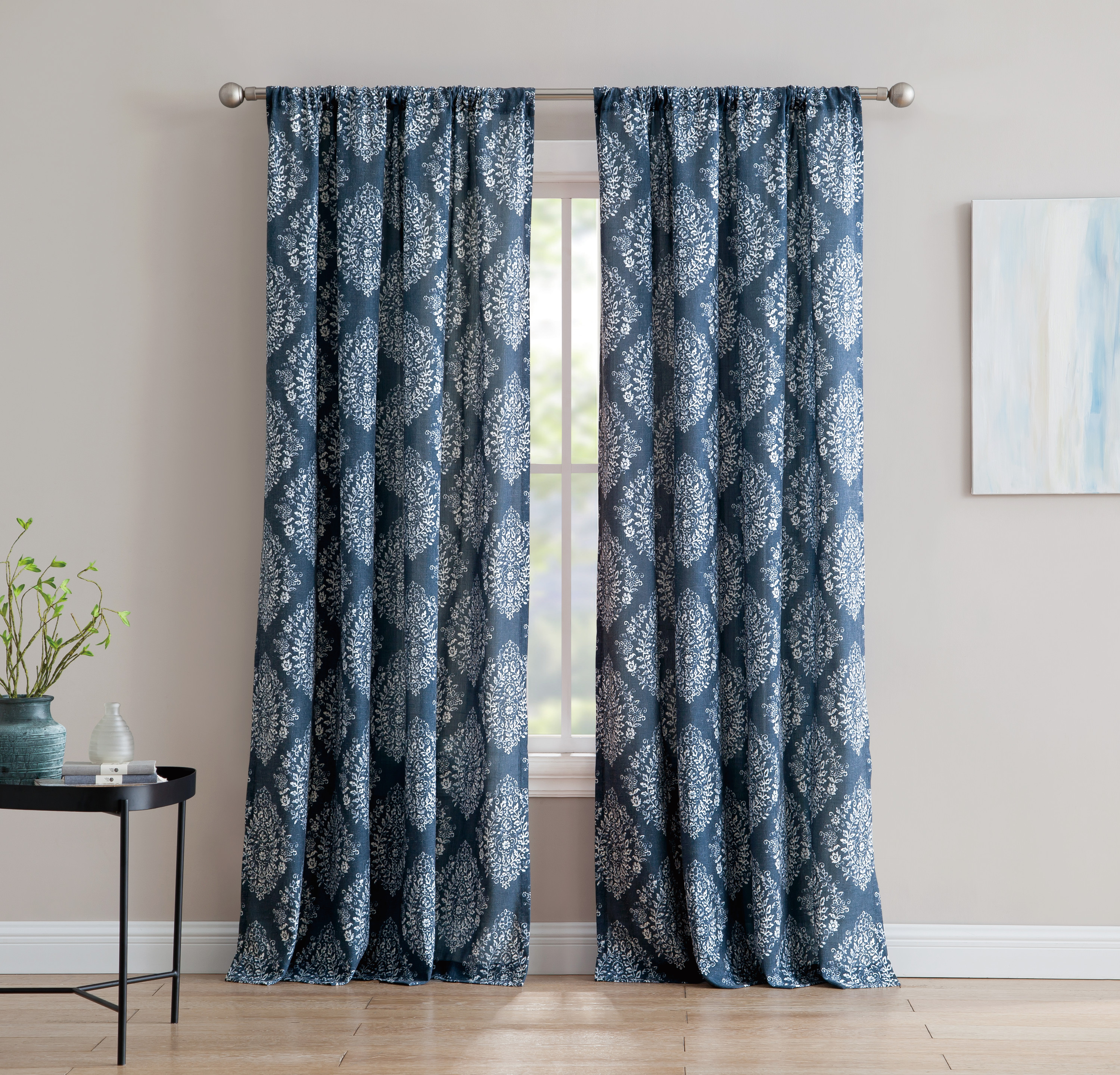 Alma 84-inch Window Curtain with Rod Pocket - Blue - Single Panel, Inspired Surroundings by 1888 Mills