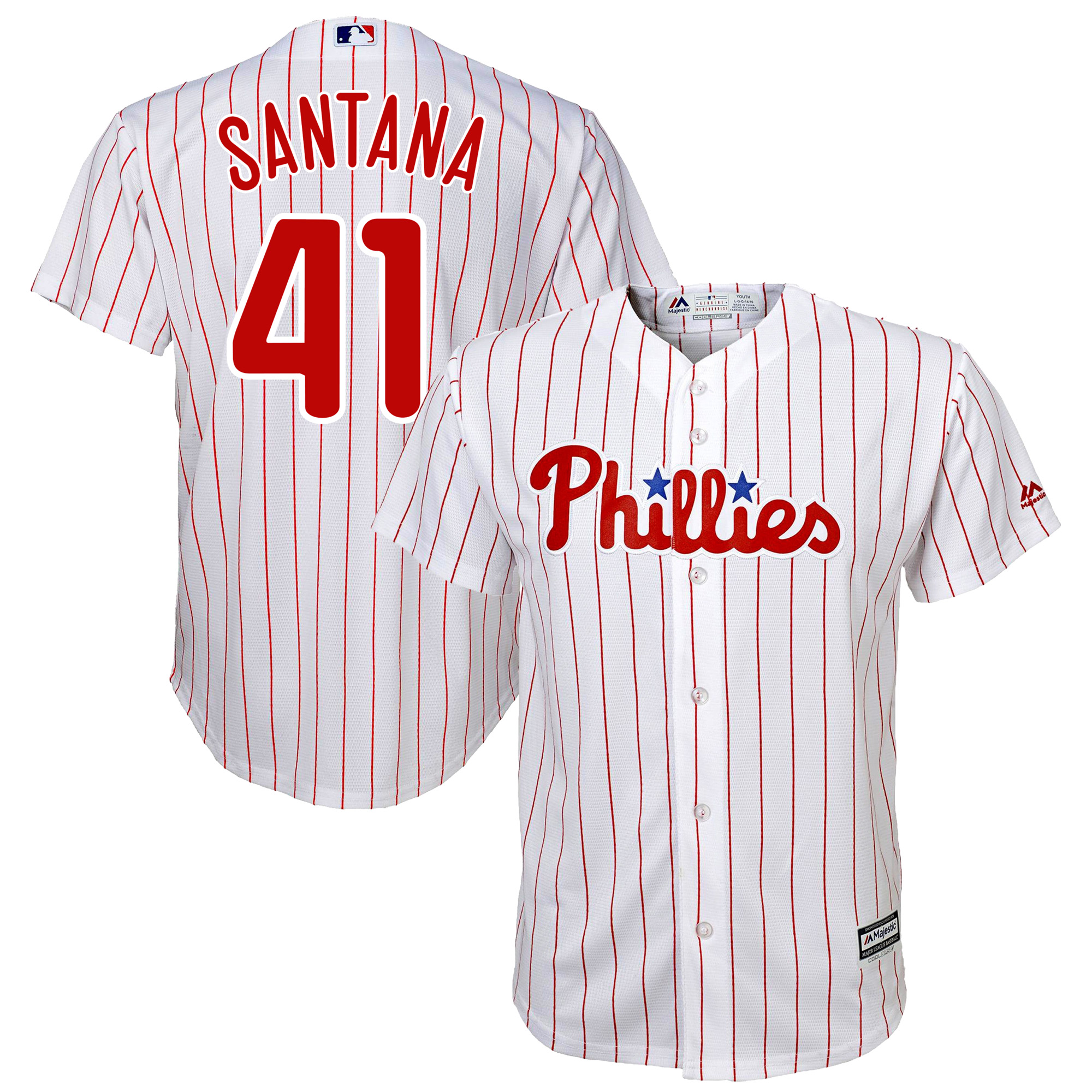 Carlos Santana Philadelphia Phillies Majestic Official Cool Base Player Jersey - White