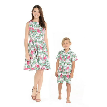 Matching Mother Son Hawaiian Luau Outfit Women Vintage Dress Boy Shirt Shorts Flamingo in Love - Hawaiian Womens Clothes