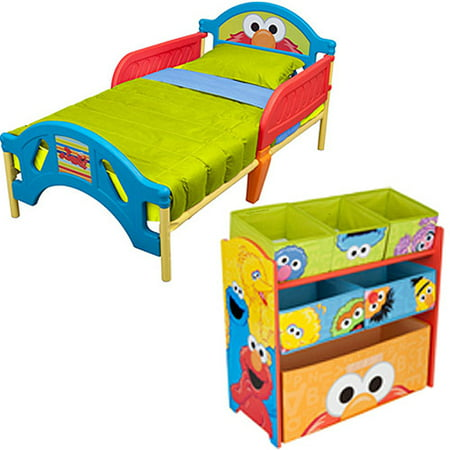 Sesame Street - Toddler Bed and Multi-Bin Organizer - Value Bundle