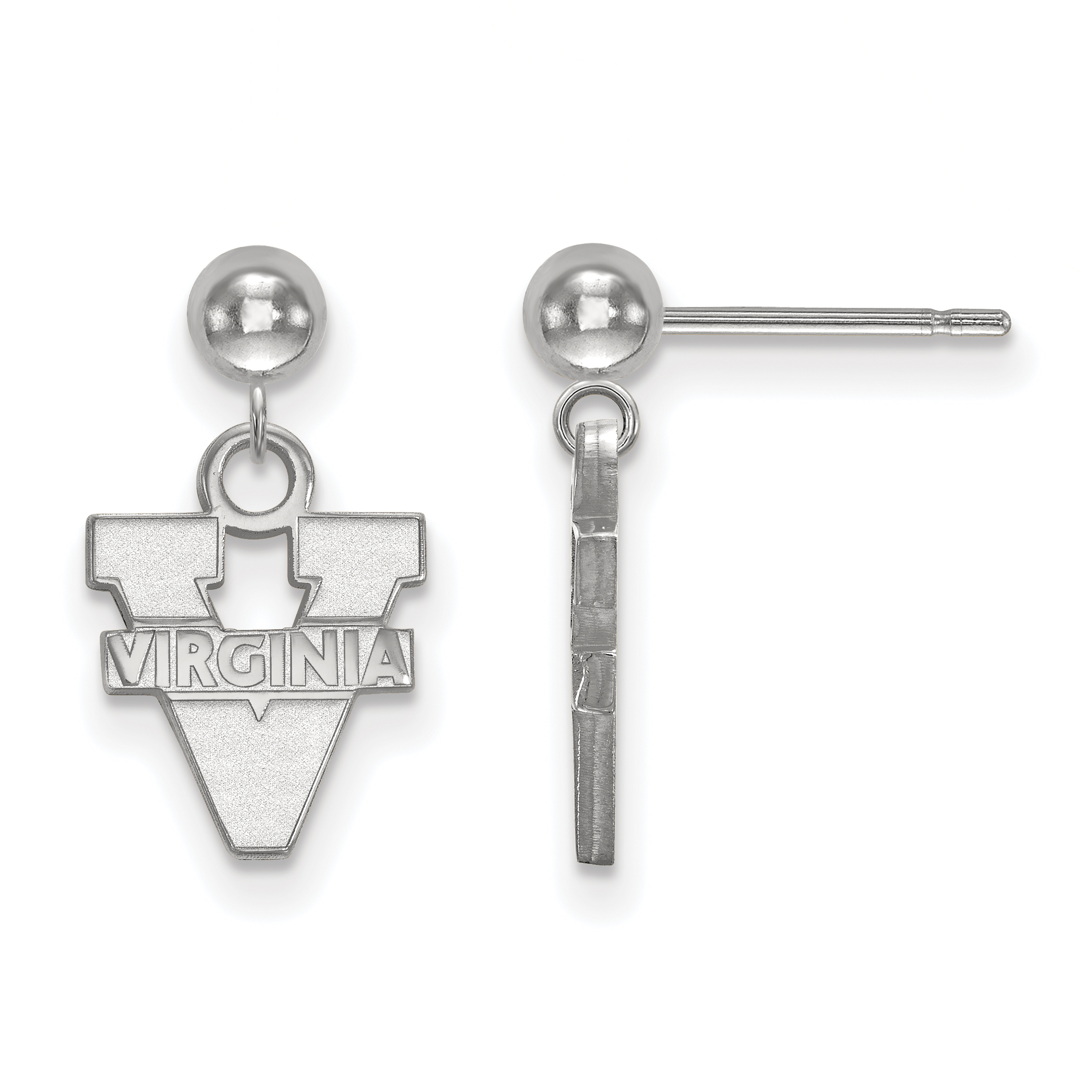 Roy Rose Jewelry Sterling Silver LogoArt University of Virginia Earrings Dangle Ball