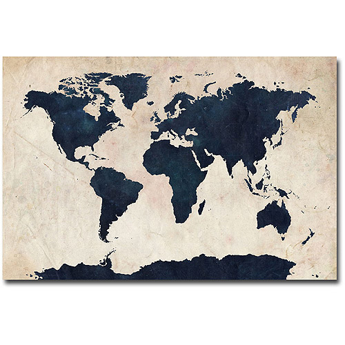Trademark art world map navy canvas wall art by michael tompsett