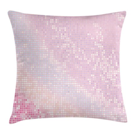 Modern Throw Pillow Cushion Cover, Abstract Pattern in Pastel Pink Tones Disco Ball Style Party Theme Artwork, Decorative Square Accent Pillow Case, 16 X 16 Inches, Light Pink Baby Pink, by Ambesonne