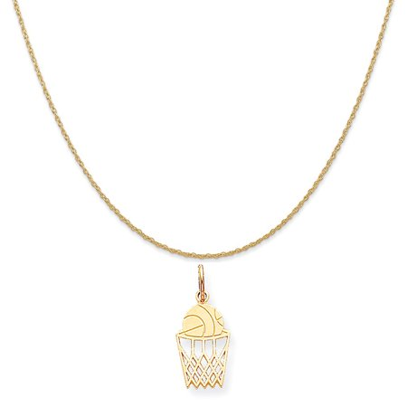 10k Yellow Gold Basketball Charm on a 14K Yellow Gold Rope Chain Necklace, 16