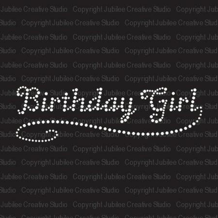 Birthday Girl Iron On Rhinestone Transfer