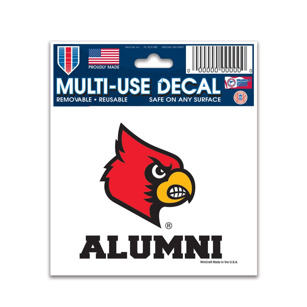 Louisville Cardinals Official NCAA 3 inch x 4 inch  Car Window Cling Decal by Wincraft