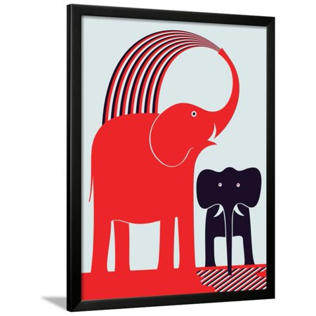 Art Print Greg Stocks - Red Elephant Framed Print Wall Art By Greg Mably