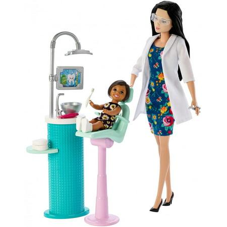 Barbie Careers Dentist Doll & Toddler Patient Doll Playset, Black Hair (Barbie Doll Black Hair)