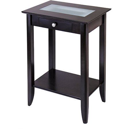 Syrah Tall End Table With Frosted Glass
