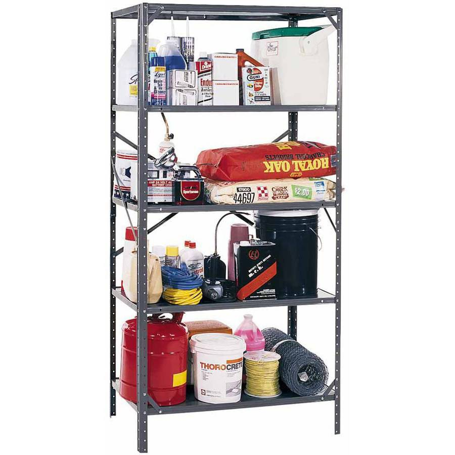 "Edsal 36""W x 18""D x 72""H 5-Shelf Steel Shelving, Grey"