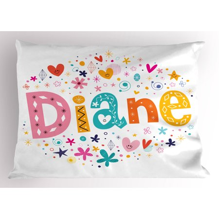 Diane Pillow Sham Festive Arrangement of Letters Baby Girl Name with Geometric Shapes Circles Rhombuses, Decorative Standard Size Printed Pillowcase, 26 X 20 Inches, Multicolor, by Ambesonne
