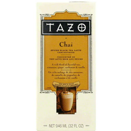 Tazo Chai Spiced Black Tea Latte Concentrate, 32 fl oz, (Pack of 6) Chai Latte Mix