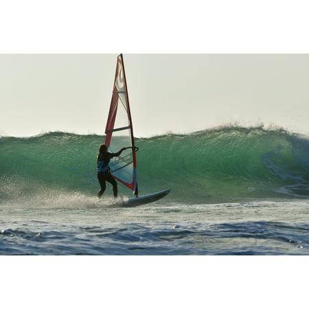 Windsurfing Tarifa Cadiz Andalusia Spain Canvas Art - Ben Welsh Design Pics (38 x 24)