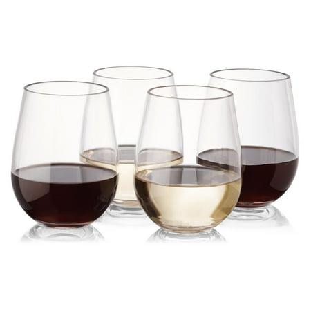 Plastic Outdoor Wine Glasses Set Of 8 Stemless