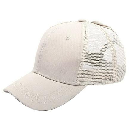 ZEDWELL Ponytail Baseball Cap Women Men Cotton Adjustable Sunshade Mesh Sun Hat Sportswear Accessory,14 Colors