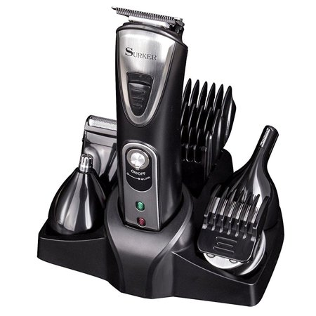surker rfc 518 cordless hair clippers for men 5 in 1 grooming kit hair and beard trimmer nose. Black Bedroom Furniture Sets. Home Design Ideas