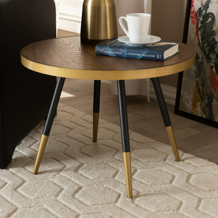 . Baxton Studio Lauro Modern and Contemporary Round Walnut Wood and Metal  Coffee Table with Two Tone Black and Gold Legs