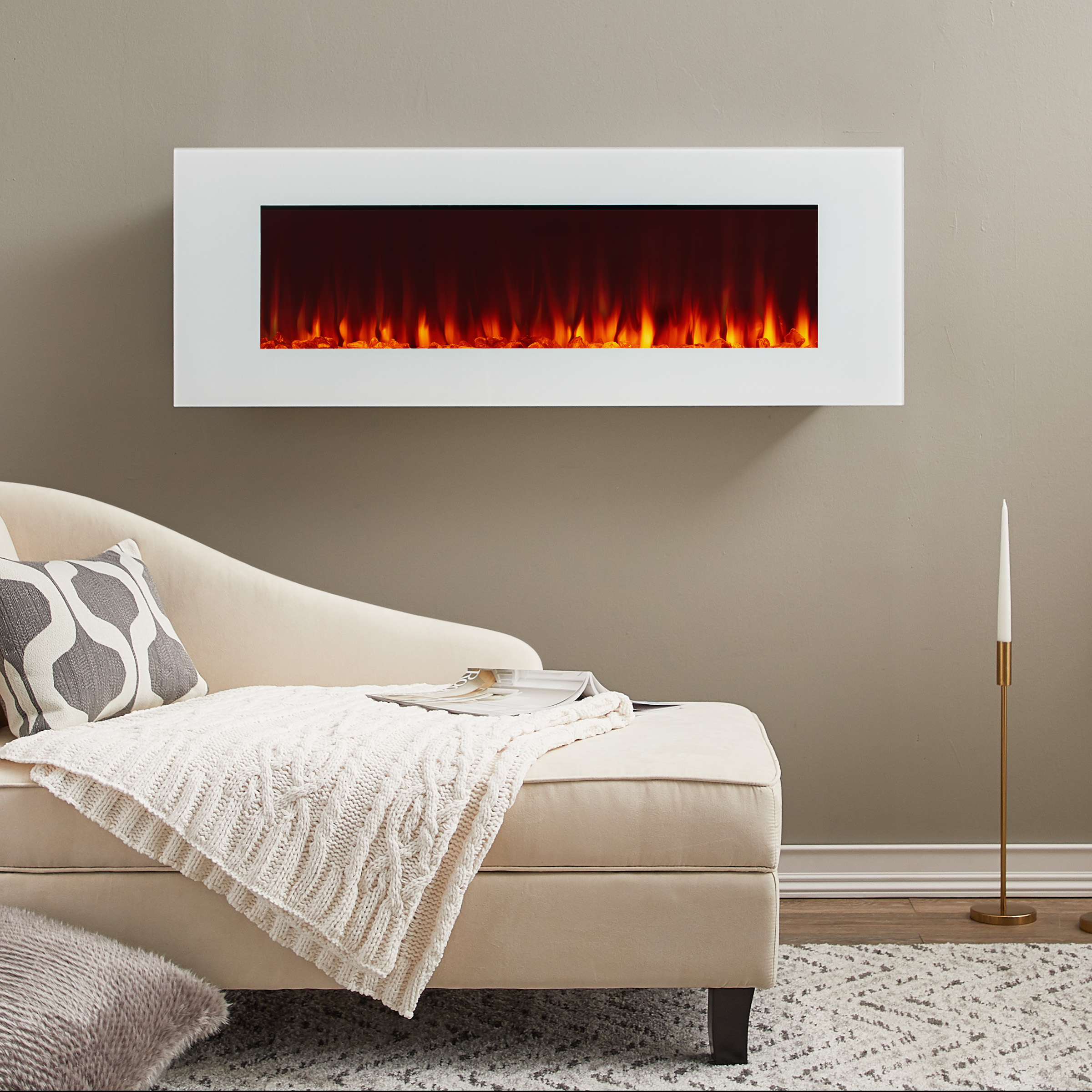 DiNatale Wall-Mounted Electric Fireplace in White by Real Flame