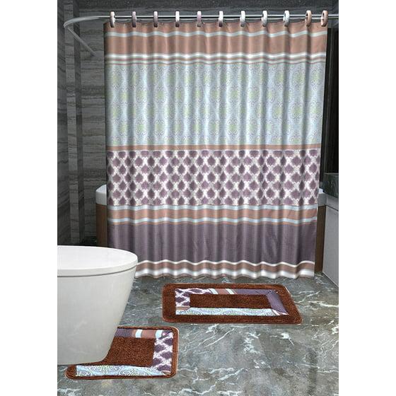 Olivia 15-piece royalty Bathroom Accessories Set Rugs Shower ...