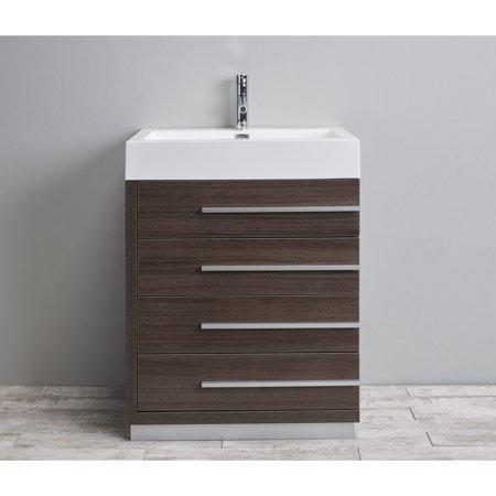 Eviva Rino 30 Inch Grey Oak Bathroom Vanity With Acrylic Sink And