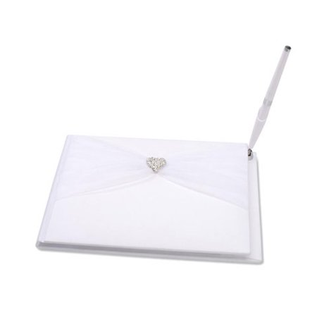 Victoria Lynn Guest Book - White with Tulle & Rhinestone Heart