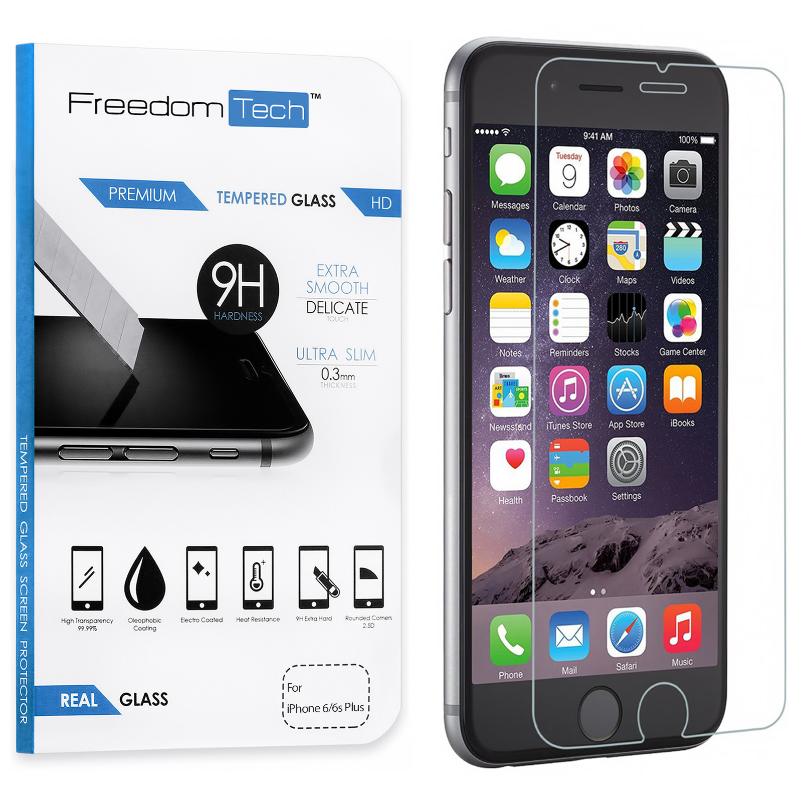 Freedomtech iPhone 6S Plus Screen Protector Real Tempered Glass Film LCD Guard