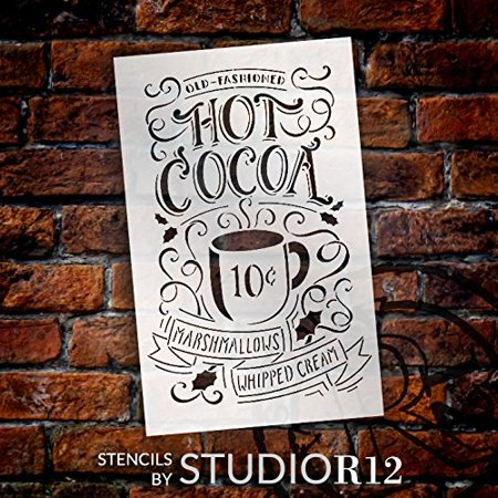 Hot Cocoa Stencil By Studior12 Reusable Mylar Template Typography Word Art Painting Chalk Use For Crafting Christmas Winter Farmhouse Style Wood