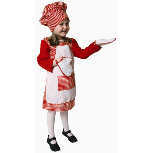 Dress Up America Red Gingham Girl Chef Children's Costume