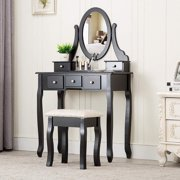 Ktaxon Black Vanity Set with Stool,Makeup Table with 5 Drawers & Mirror, Room Dresser