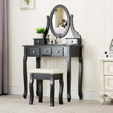 Ktaxon Black Vanity Set with Stool,Makeup Table with 5 Drawers & Mirror, Room Dresser