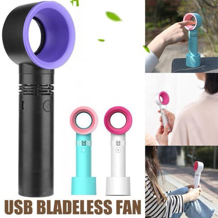 Hand Held Fans Bulk (Top Knobs USB Rechargeable Portable Bladeless Fan Handheld Mini Cooler No Leaf Handy Fan with 3 Fan Speed Level LED)
