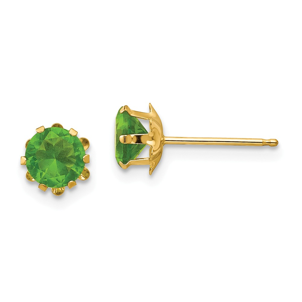 14k Yellow Gold Children's 5mm Synthetic Gemstone Peridot (Aug) Post Earrings
