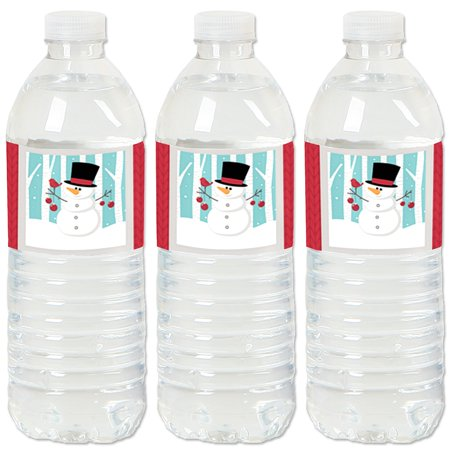 Let It Snow - Snowman - Christmas or Holiday Party Water Bottle Sticker Labels - Set of 20 (Snow Bottle)