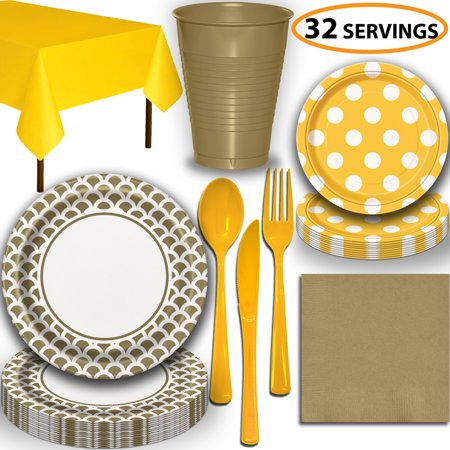 Disposable Tableware, 32 Sets - Gold and Sunflower Yellow - Scallop Dinner Plates, Dotted Dessert Plates, Cups, Lunch Napkins, Cutlery, and Tablecloths:  Party Supplies - Sunflower Dessert